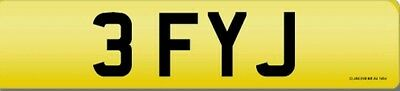 3 FYJ Cherished dateless personalised private number plate gift investment
