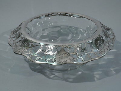 Art Nouveau Bowl  Antique  American Clear Glass  Silver Floral Overlay