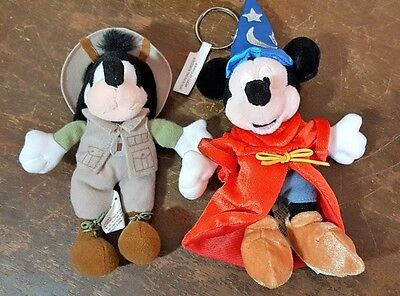 Lot Of 2 Mickey Mouse Wizard And Goofy Safari Plush Keychains Disney