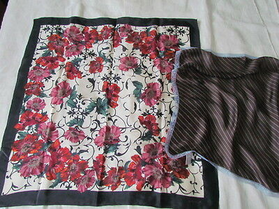 ECHO Silk Scarf Lot Vintage Floral poppies Abstract Japan Purse New Brown Unused
