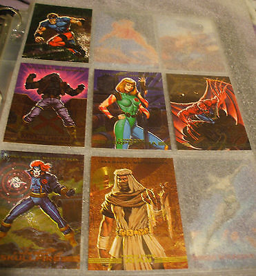 1993 Marvel Masterpiece Cards Complete Set w/6 of 8 Spectra Etched Chase set!!