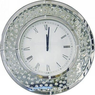 NEW Round 50cm Mirror Crystal Wall Clock Home Decor