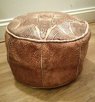 Small Moroccan Genuine 100% Leather Pouffe Footstool New Handmade Poufe Pouf