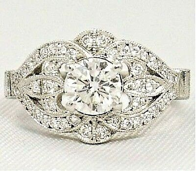 2.5 CT Round Diamond Antique Vintage Wedding Ring Jewelry in 14k White Gold Over