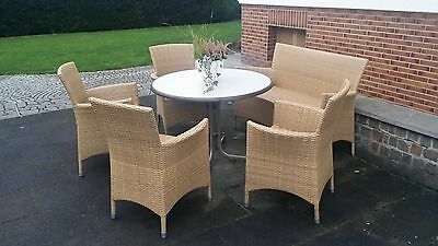 rattan gartenm bel aus polyrattan 4 sessel 1 bank 1 tisch eur 51 00 picclick de. Black Bedroom Furniture Sets. Home Design Ideas
