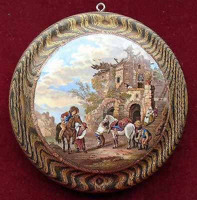 OLD LARGE PRATTWARE  WOOD MOUNTED POT LID No.324 ''THE FARRIERS'' c.1860