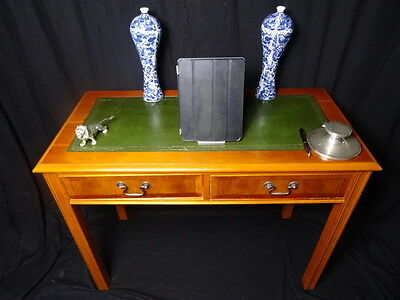 Small Antique Regency Style Kneehole Office Home Desk Green Leather Insert