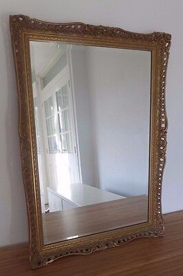 Baroque Rococo French Hand Painted Gold Antique Ornate Decorative Wall Mirror