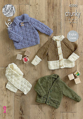 King Cole Chunky Knitting Pattern 4350  Sweater,Cardigan & Scarf