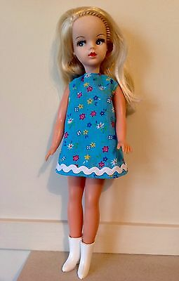 SINDY 1970s BLUE DRESS from FUN FURS inc MATCHING KNICKERS REPRO no doll/boots