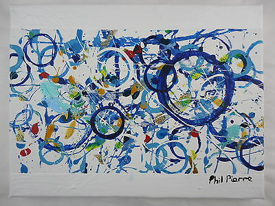 Phil Pierre - BLUE BUBBLES 038  new original acrylic abstract painting canvas