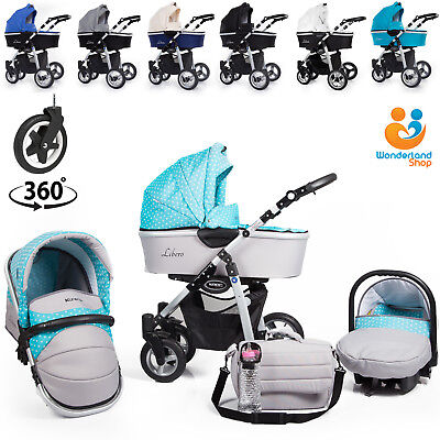 Baby Pram Pushchair 3in1 Travel System Car Seat Carrycot Buggy From Birth