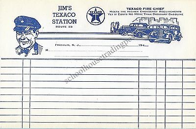 Jim's Texaco Station Route 23 Franklin New Jersey 1940s Billhead Uniform/Cars