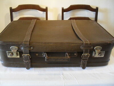 Vintage 1950/1960'S Large Brown Leather Suitcase With Two Safety Straps