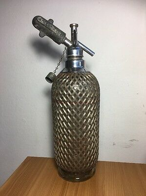Authentic Sparklets Soda Siphon With Gas Holder Metal Mesh Covering Vintage