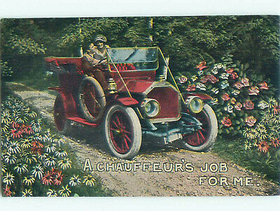 Pre-Linen ROMANTIC COUPLE IN VERY OLD AUTOMOBILE CAR J0735