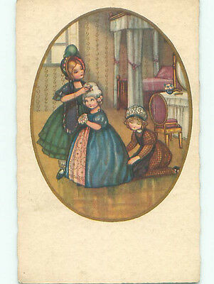 Pre-Linen foreign EUROPEAN GIRLS HELP ANOTHER GIRL WITH HER HAIR AND DRESS k7352