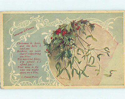 Pre-Linen language of flowers signed MISTLETOE AND CHRISTMAS HOLIDAY HJ3409