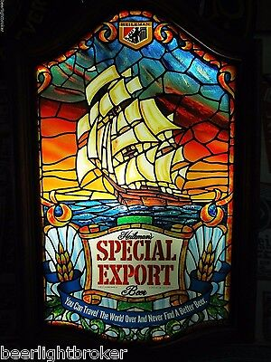 Vtg 1979 Special Export Beer Pirate Ship On Ocean FAUX Stained Bar Sign Light