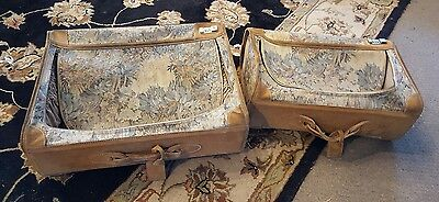 2 x Vintage French Luggage Company Suede Paradise Tapestry Suitcase