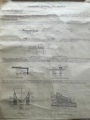 Old Engineers drawing LAUNCHING SLIPWAYS for VESSELS Marine Nautical Shipping