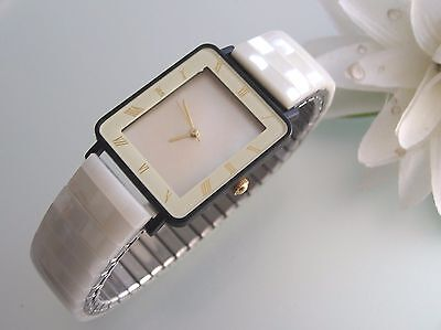 Vintage Real Mother of Pearl gemstone stainless steel stretch band women's watch