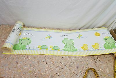 """LAMBS & IVY WALLPAPER BORDER  """"FROGGY TALES"""" frogs  8""""X 30' PREPASTED WASHABLE h"""