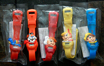 5 Vintage Kellogg's cereal watches: Tony the Tiger, Toucan Sam, Snap/Crackle/Pop