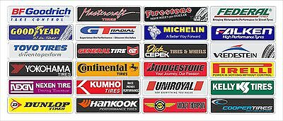 """Tire Brands stickers 1.5"""" x 6.0"""" (24) units in the set"""