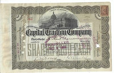Capital Traction Company..........1899 Stock Certificate