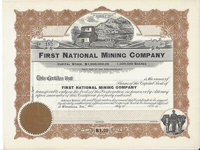 First National Mining Company......unissued Stock Certificate