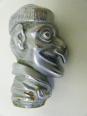 Mr Punch extremely rare antique car mascot radiator cap walking stick top plated