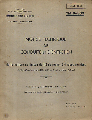 TM 9-803 Notice technique conduite d'entretien Jeep willys Overland MB Ford GPW