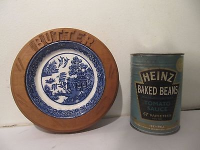 Willow Pattern Pottery Wooden Carved 'Butter' Dish Farmhouse Kitchen