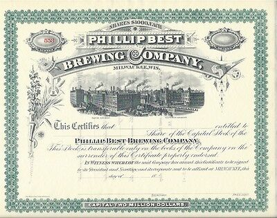 Phillip Best Brewing Company.....1800's Unissued Stock Certificate