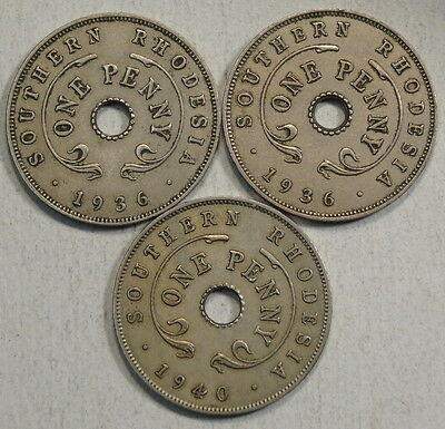 Southern Rhodesia, Lot of 3 Pennies, KM7 & 8, VF/EF   0209-13