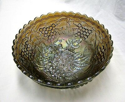 """Antique Imperial Grape Pattern """"Smoke"""" Carnival Glass 9+"""" Ice Cream Shaped Bowl"""