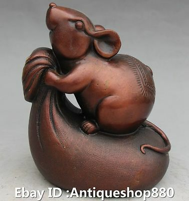 Chinese Bronze Fengshui Zodiac Year Mouse On Money Bag Carving Animal Statue
