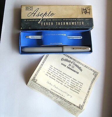 Vtg 1950s B-D ASEPTO Fever ORAL/RECTAL GLASS THERMOMETER w/Certificate USA nr