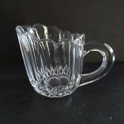 Small Beautiful Vintage Art Deco Pressed Glass Jug with scalloped edge