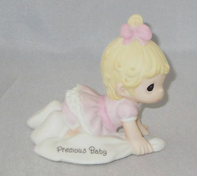 Precious Baby Girl Moments Crawling Blonde Hair Pink Dress Bow Figurine NWOB