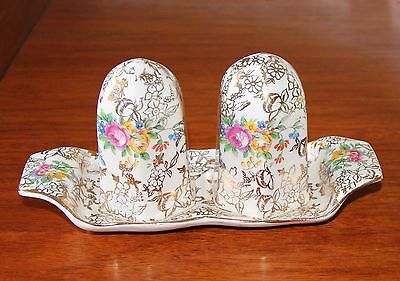 Vintage Chintz Roses Lord Nelson Ware Salt Pepper Cruet Set with Tray - Exc Cond