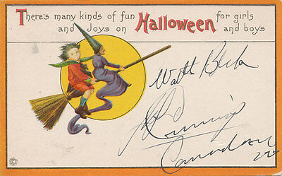 Halloween PC ca. 1908 * Witch Riding Broom with Boy  Moon * Embossed