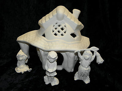 Ceramic Bisque Ready to Paint Cottage& Fairies