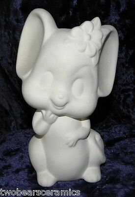 Ceramic Bisque Ready to Paint - Mouse with Flower in hair