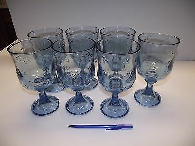 """7pc HUGE 4"""" across Blue Glass 7.25"""" tall Goblets FLORAL Embossed EXC Glasses"""