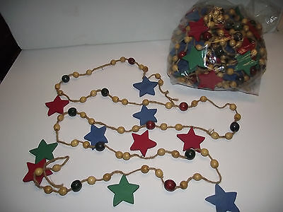 58ft Primitive VTG Christmas Stained Wood Bead Tree GARLAND Strand STAR 9 Strand