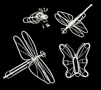 4 Pieces Of Wire Art: 2 Dragonflies, Butterfly, Spider; New!