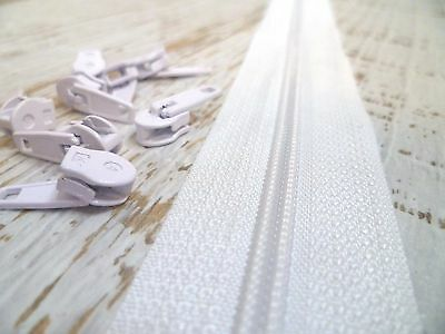 Upholstery Zip & Sliders - No.4 Continuous - White - 5 Metres - 10 Sliders