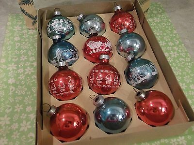 "12 Vtg.christmas Ornaments-Stenciled Pictures~1 3/4"" Size-Coby Santa-Sleigh-Deer"